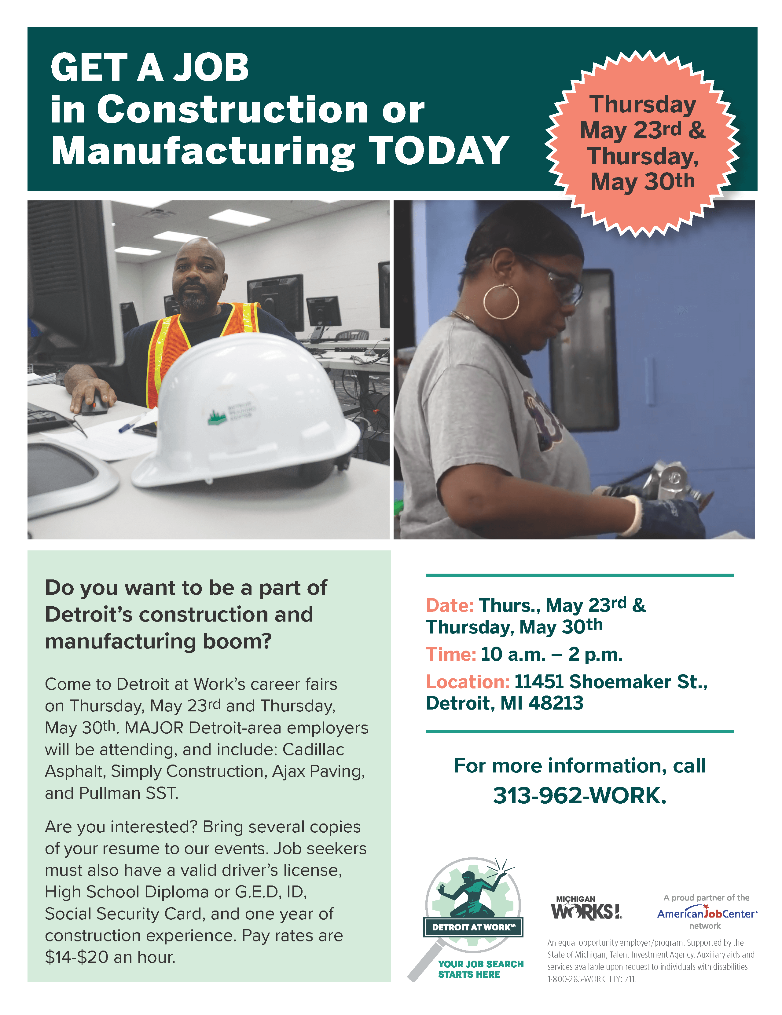 Construction and Manufacturing Career Fair Flyer