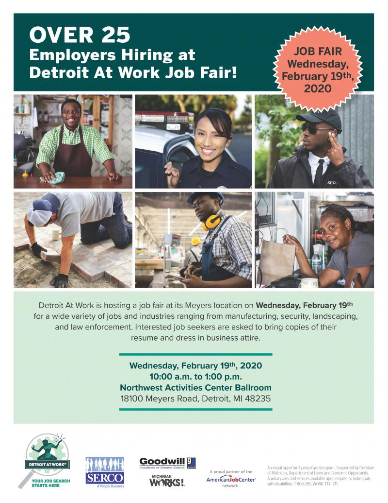 Over 25 Employers at Detroit At Work Job Fair February 19